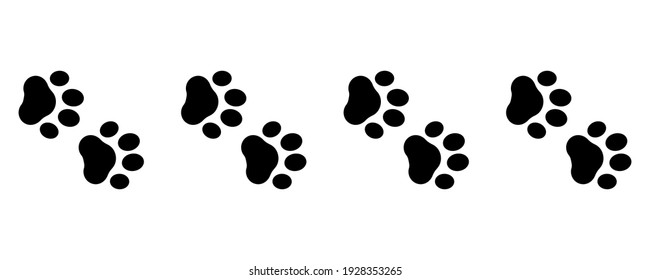 Cute animal. Foot dog seamless pattern. Footprint graphic. Pet outline. Repeated pattern trail cat. Paw prints design service print. Foots border isolated on white background. Shape paw. Illustration