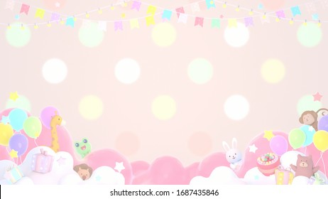 Cute animals birthday party. 3d rendering picture.