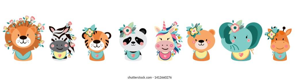 Cute animals with flowers. Illustrations for nursery design, poster, birthday greeting cards. Lion, zebra, tiger, panda, elephant, bear, unicorn, giraffe. White background.