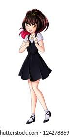 Cute Anime Girl Hand Drawn Illustration Stock Illustration 1242788692