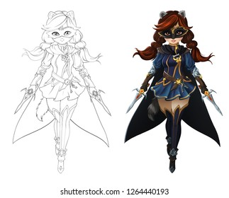 Cute anime girl with racoon ears and tail. Wearing short skirt and black cloak. Hand drawn illustration. Outline and colored variants isolated on white background.