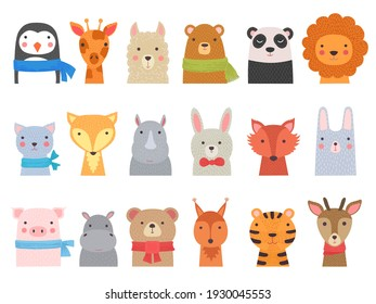 Cute baby animals. Children funny wild alphabet animals hippo fox bear hand drawn collection
