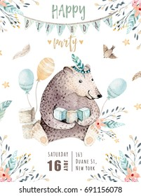 Cute baby bear nursery animal isolated illustration for children. Bohemian watercolor  family drawing, watercolour image. Perfect for nursery posters, baby shower, patterns. Birthday boho invite.