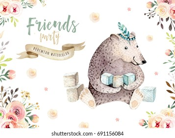 Cute baby bear nursery animal isolated illustration for children. Bohemian watercolor bohemian family drawing, watercolour. Perfect for nursery posters, baby shower, patterns. Birthday boho invite.