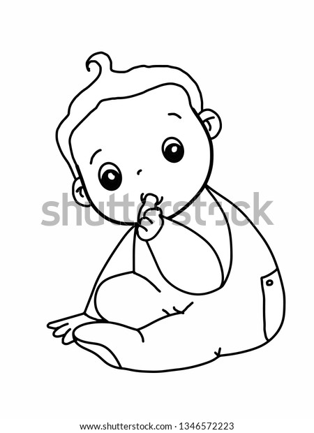 Cute Baby Boy Coloring Cartoon Characters Stock Illustration 1346572223