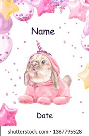Cute baby bunny animal in pink unicorn pajamas. Rabbit Print for children.  Bright Baloons, Gift for the first birthday, Decor for a children's holiday, an invitation to a children's pajama party