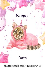 Cute baby clouded leopard animal in pink unicorn pajamas. Leopard Print for children. Baloons, Gift for the first birthday, Decor for a children's holiday, an invitation to a children's pajama party