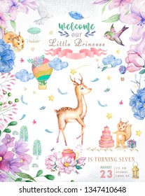Cute baby deer animal isolated illustration for children. Bohemian watercolor boho forest deer family watercolor drawing Perfect for nursery posters. Birthday invite, celbration card