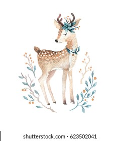 Cute baby deer animal for kindergarten, nursery isolated  illustration for children clothing, pattern. WatercolorHand drawn boho image Perfect for phone cases design, nursery posters, postcards