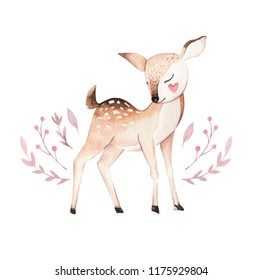Cute baby  deer animal nursery isolated illustration for children. Watercolor boho forest drawing, watercolour image Perfect for nursery posters