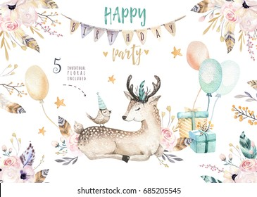 Cute baby deer nursery animal isolated illustration for children. Bohemian watercolor boho forest deer family drawing, watercolour image. Perfect for nursery posters, patterns. Birthday invite.
