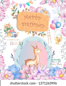 Cute baby deer and with tasty cake animal isolated illustration for children. Bohemian watercolor boho forest deer family watercolor drawing Perfect for nursery posters. Birthday invite.
