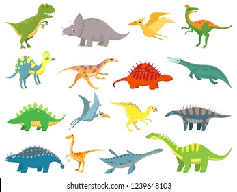 Cute baby dinosaur. Dinosaurs dragon and funny dino character. Fantasy cartoon colorful prehistoric happy dinosaurs wild animal tyrannosaurus rex stegosaurus figure  illustration isolated set