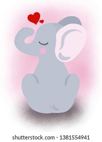 Cute baby elefant art illustration