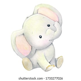 Cute baby elephant in a cartoon style. Watercolor animal, on an isolated background, for children's holidays.