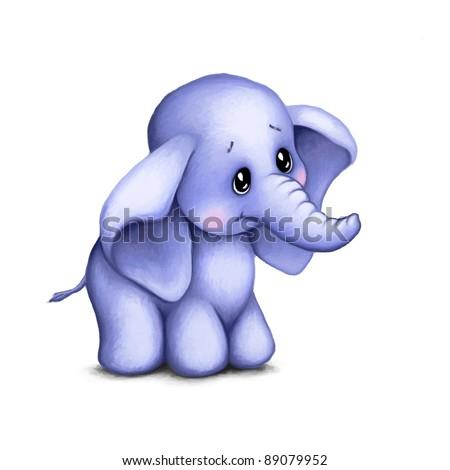 cute baby elephant on white background stock illustration 89079952