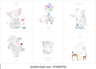 Cute baby elephant set. Adorable elephant illustrations for greeting cards and baby shower invitation design.