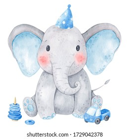 Cute baby elephant watercolor illustration. Isolated on white background. African baby animal for baby shower, nursery decorations, birthday invitations, postera, greeting card, fabric. Baby boy.