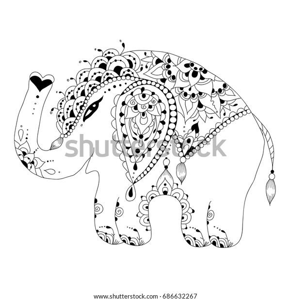 Cute Baby Elephant Zen Tangle Style Stock Illustration 686632267