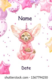 Cute baby Fennec Fox animal in pink unicorn pajamas. Fox Print for children.  Bright Baloons, Gift for the first birthday, Decor for a children's holiday, an invitation to a children's pajama party