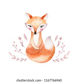 Cute baby fox, animal nursery  isolated illustration for children. Watercolor boho forest drawing, watercolour image Perfect for nursery posters