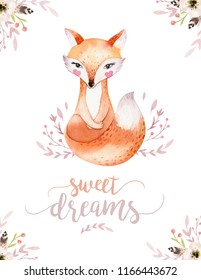 Cute baby fox, deer animal nursery rabbit and bear isolated illustration for children. Watercolor boho forest drawing, watercolour, hedgehog image Perfect for nursery posters