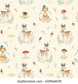 Cute baby foxes  and deer animal seamless pattern, nursery isolated  illustration for children clothing. Watercolor Hand drawn boho image Perfect for phone cases design, nursery posters, postcards
