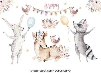 Cute baby giraffe, deer animal nursery mouse and bear isolated illustration baby design. Watercolor boho forest cartoon Birthday patry invitation Perfect for nursery posters, patterns
