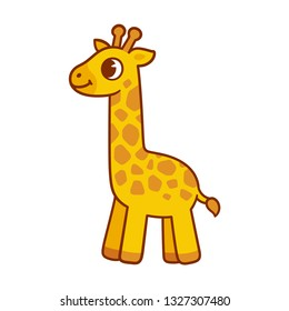 Cute baby giraffe drawing, funny cartoon character illustration for children.