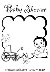 cute baby girl or boy baby shower card invent illustration black white colors