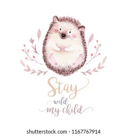 Cute baby hedgehog animal nursery  isolated illustration for children. Watercolor boho forest drawing, watercolour, hedgehog image Perfect for nursery posters