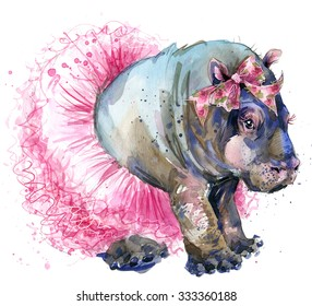 Cute baby hippo. watercolor illustration. exotic nature. african animals. savannah wildlife.