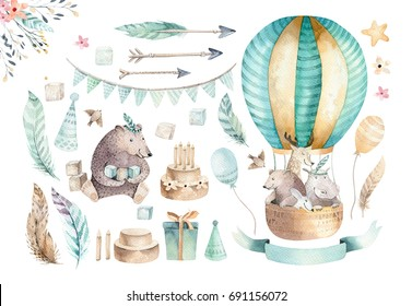 Cute baby nursery on balloon isolated illustration. Bohemian watercolor bohemian bear, cat hipo and deer drawing, watercolour image. nursery posters, baby shower, patterns. Birthday boho invite.