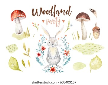 Cute baby rabbit animal nursery isolated illustration for children. Watercolor boho forest drawing, watercolour bunny image Perfect for nursery posters, postcard