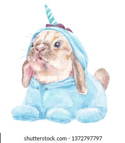 Cute baby Rabbit in blue unicorn pajamas. Bunny Print for children's fabric.  Bright Baloons, Gift for the first birthday, Decor for a children's holiday, an invitation to a children's pajama party