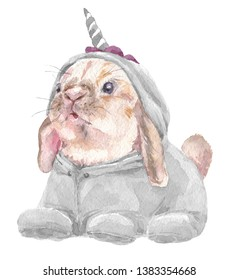 Cute baby Rabbit in grey unicorn pajamas. Bunny Print for children's fabric.  Bright Baloons, Gift for the first birthday, Decor for a children's holiday, an invitation to a children's pajama party