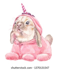 Cute baby Rabbit in pink unicorn pajamas. Bunny Print for children's fabric.  Bright Baloons, Gift for the first birthday, Decor for a children's holiday, an invitation to a children's pajama party