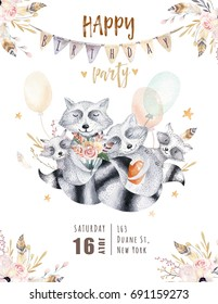 Cute baby raccon nursery animal isolated illustration for children. Bohemian watercolor boho forest racoons family drawing, watercolour image. Perfect for nursery posters, patterns. Birthday invite