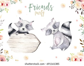 Cute baby raccon nursery animal isolated illustration for children. Bohemian watercolor boho forest raccons drawing, watercolour image. Perfect for nursery posters, patterns. Birthday invite.