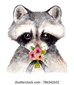 Cute baby raccoon with flowers. Watercolor illustration