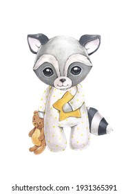 Cute baby raccoon in pajamas with a toy. The watercolor illustration is drawn by hand. For children's posters, textiles, souvenirs.