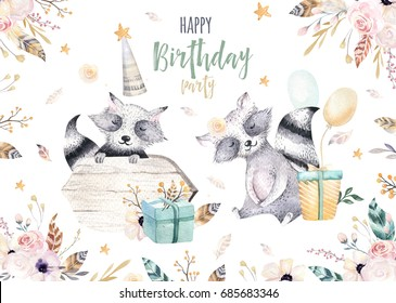 Cute baby racoon nursery animal isolated illustration for children. Bohemian watercolor boho forest raccons drawing, watercolour image. Perfect for nursery posters, patterns. Birthday invite.