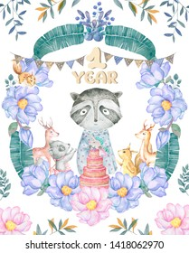 Cute baby roccoon with tasty cake animal isolated illustration for children. Bohemian watercolor boho forest deer family watercolor drawing Perfect for nursery posters. Birthday invite.