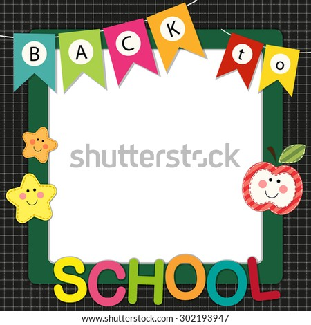 Cute Back School Frame Bunting Multicolored Stock Illustration