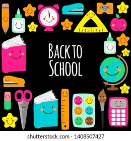 Cute Back to school frame design with colorful funny cartoon characters, education theme background for your decoration