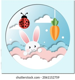 A cute background ,Red beetle and white rabbit swims between wave to get an orange carrot.