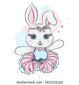 Cute ballerina, baby bunny ballet girl with flowers, floral wreath in pink and blue ballet dress. Gentle, sweet ballerina