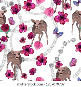 cute bambi and flowers on white chains background, raster image
