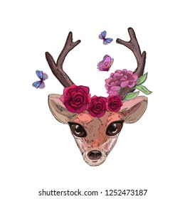 cute bambi head, butterflies and roses element, fores fairy, print for textile texture, phone case, cover sketchbook, raster image