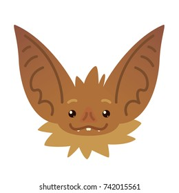 Cute bat head. Illustration of Halloween bat vampire icon or avatar in flat style. Bat-eared snout of brown flying creature. Element for your design, print, card.
